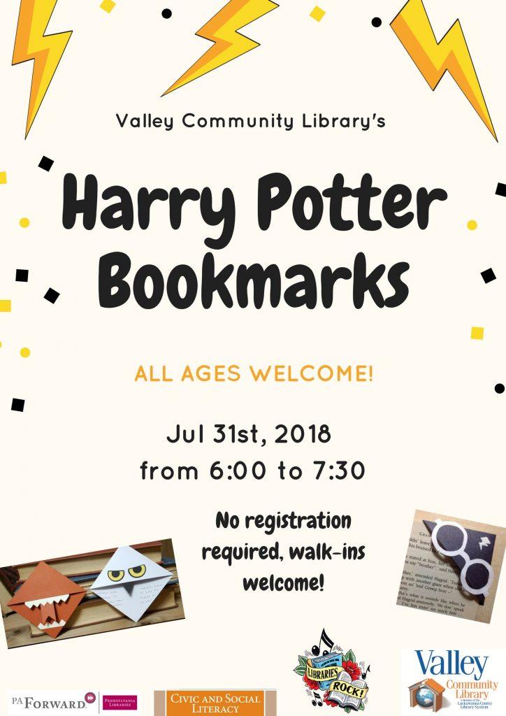 Harry Potter Celebration: Bookmarks @ Valley Community Library   Blakely   Pennsylvania   United States